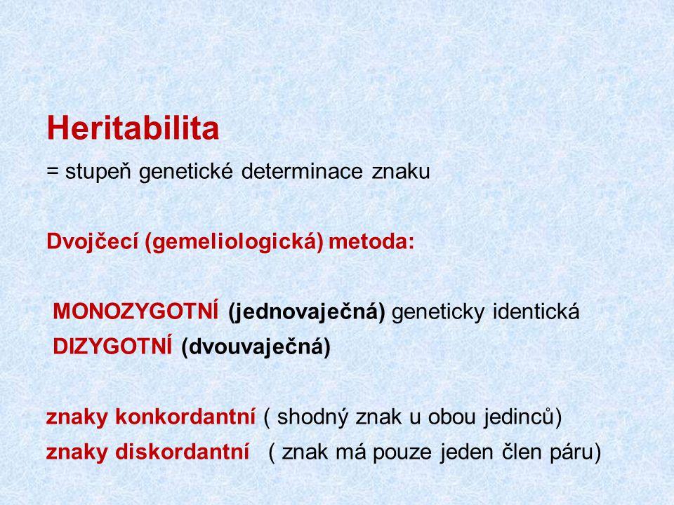 Heritabilita = stupeň genetické determinace znaku
