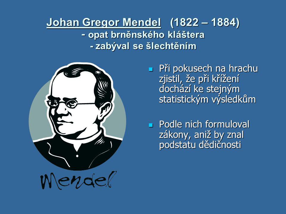 Johan Gregor Mendel (1822 – 1884) - opat brněnského kláštera - zabýval se šlechtěním