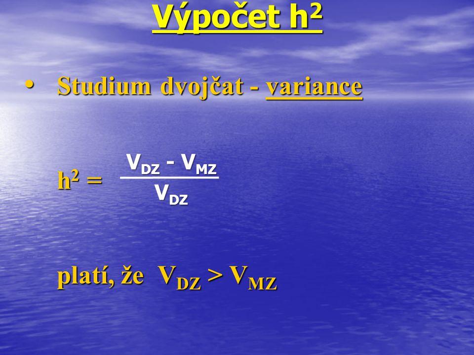 Výpočet h2 Studium dvojčat - variance h2 = platí, že VDZ > VMZ