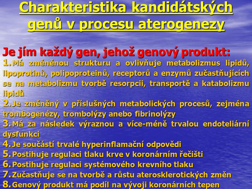 Charakteristika kandidátských genů v procesu aterogenezy