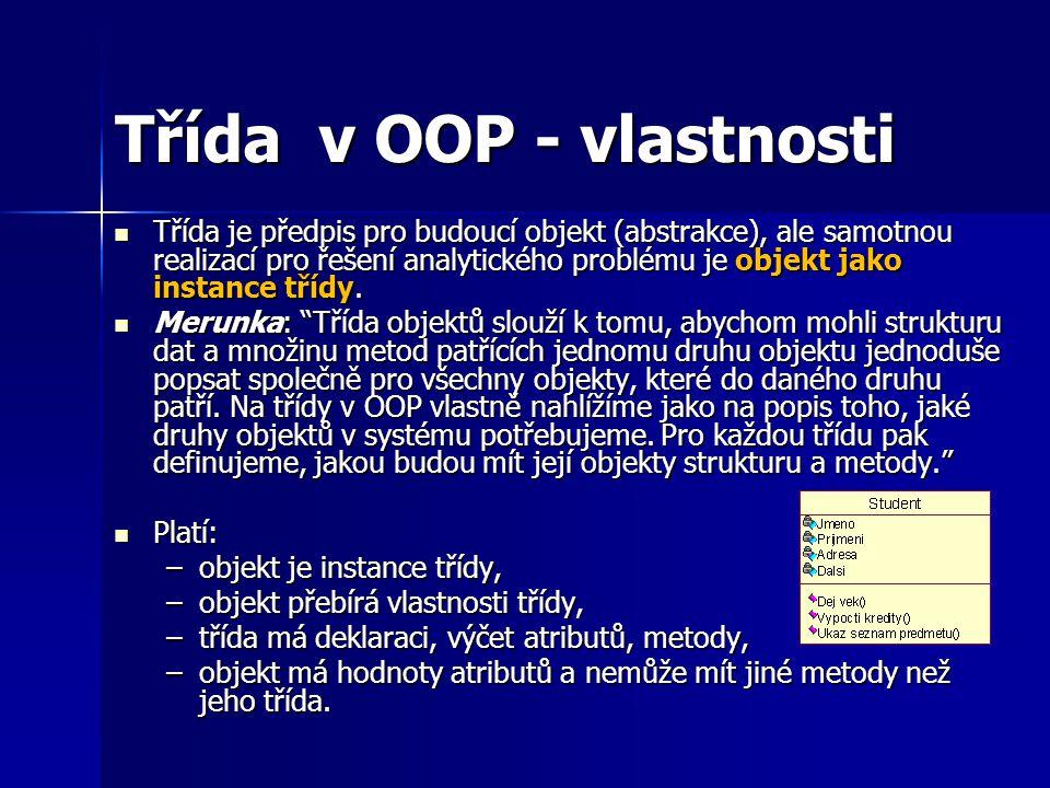 Třída v OOP - vlastnosti