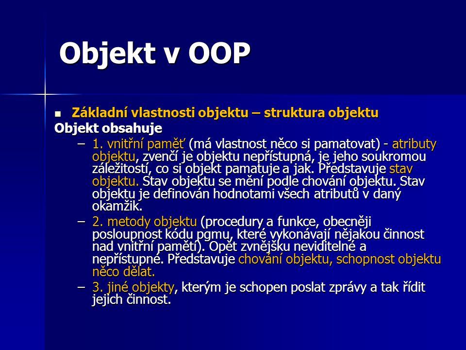 Objekt v OOP Základní vlastnosti objektu – struktura objektu