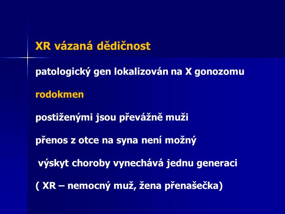XR vázaná dědičnost patologický gen lokalizován na X gonozomu rodokmen