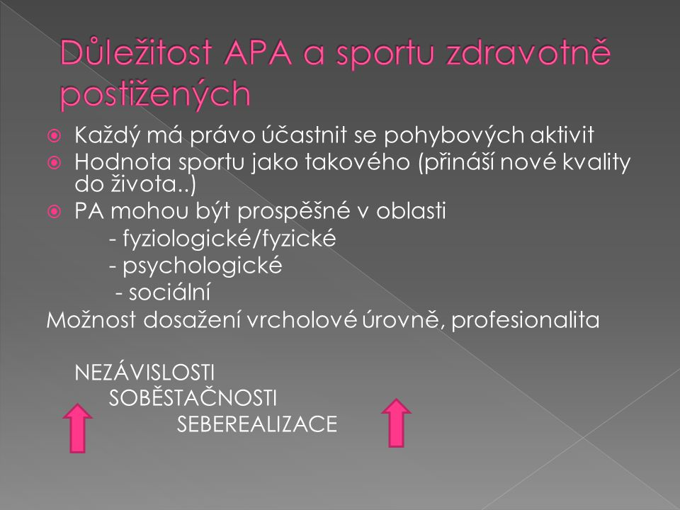 Důležitost APA a sportu zdravotně postižených