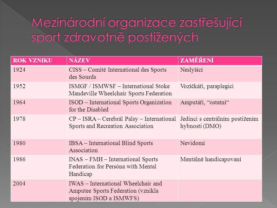 Mezinárodní organizace zastřešující sport zdravotně postižených