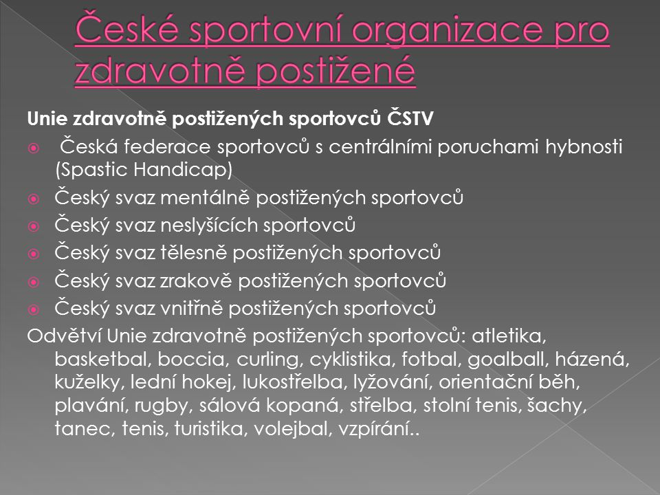 České sportovní organizace pro zdravotně postižené