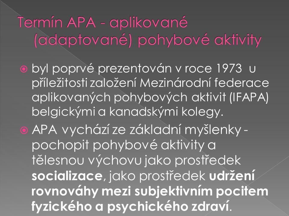 Termín APA - aplikované (adaptované) pohybové aktivity