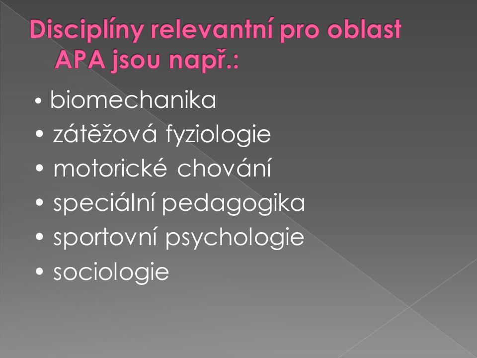 Disciplíny relevantní pro oblast APA jsou např.: