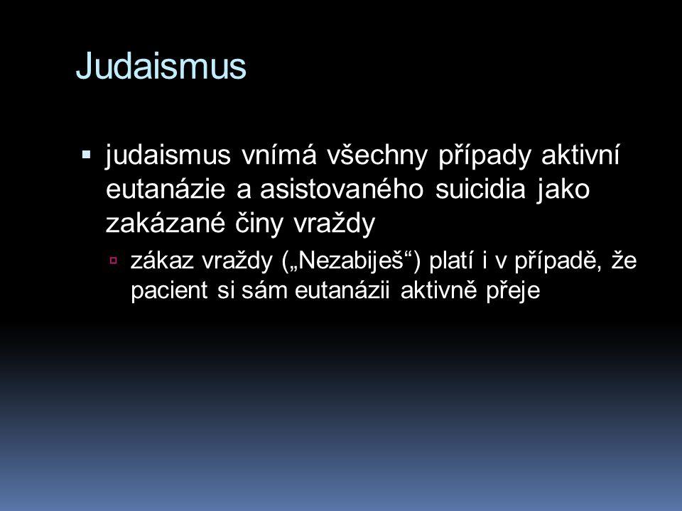 Judaismus judaismus vnímá všechny případy aktivní eutanázie a asistovaného suicidia jako zakázané činy vraždy.