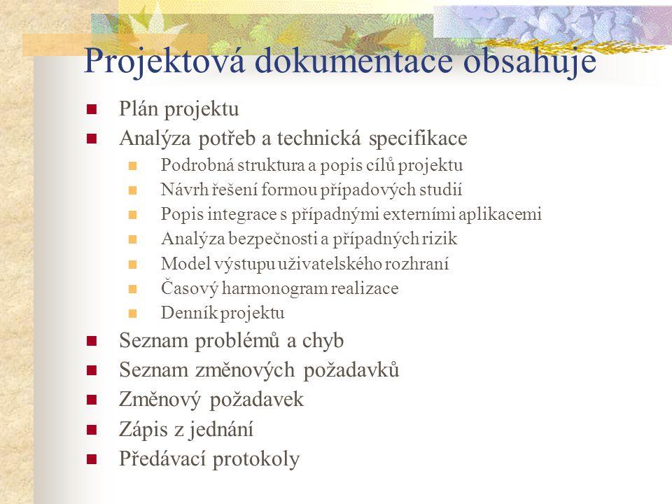 Projektová dokumentace obsahuje
