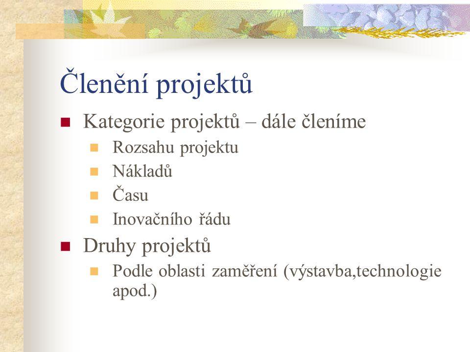Členění projektů Kategorie projektů – dále členíme Druhy projektů