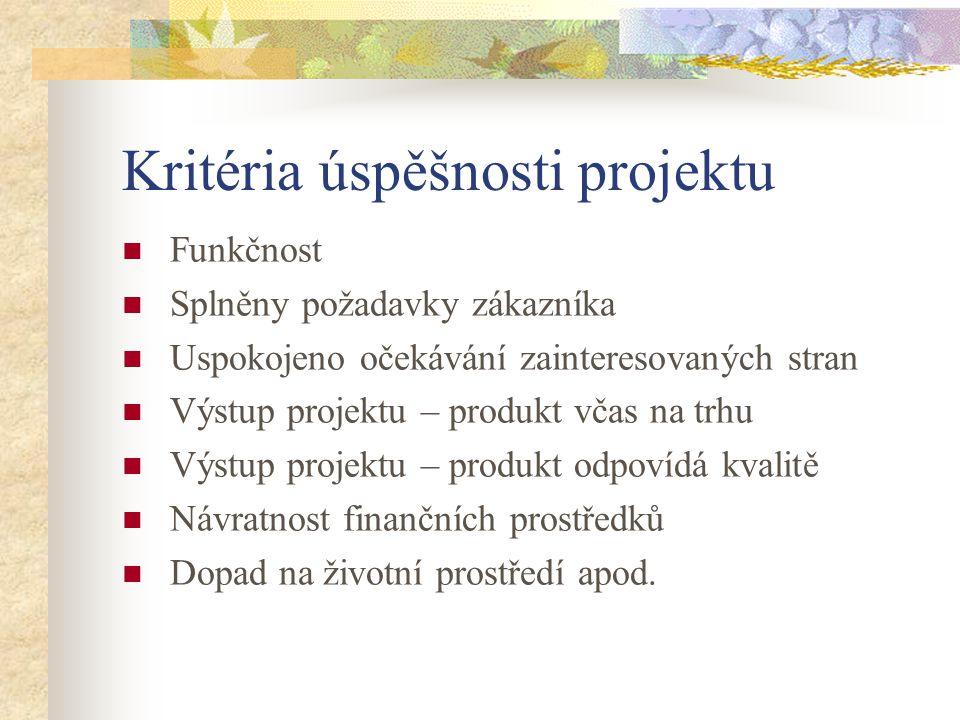 Kritéria úspěšnosti projektu