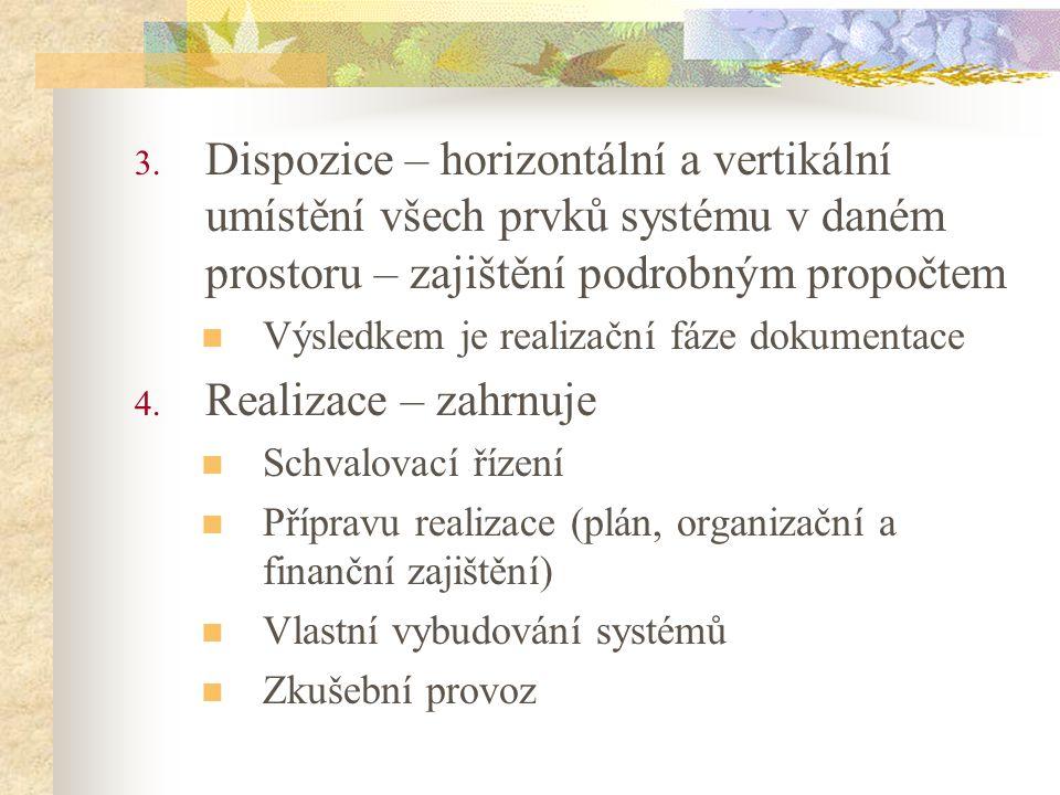 Dispozice – horizontální a vertikální umístění všech prvků systému v daném prostoru – zajištění podrobným propočtem