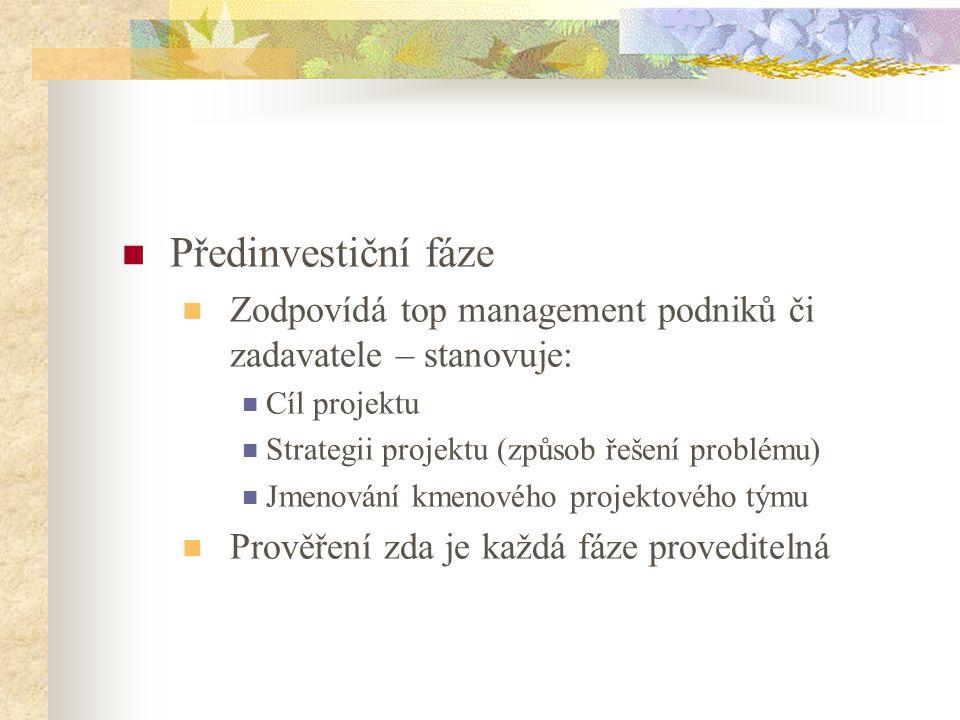 Předinvestiční fáze Zodpovídá top management podniků či zadavatele – stanovuje: Cíl projektu. Strategii projektu (způsob řešení problému)