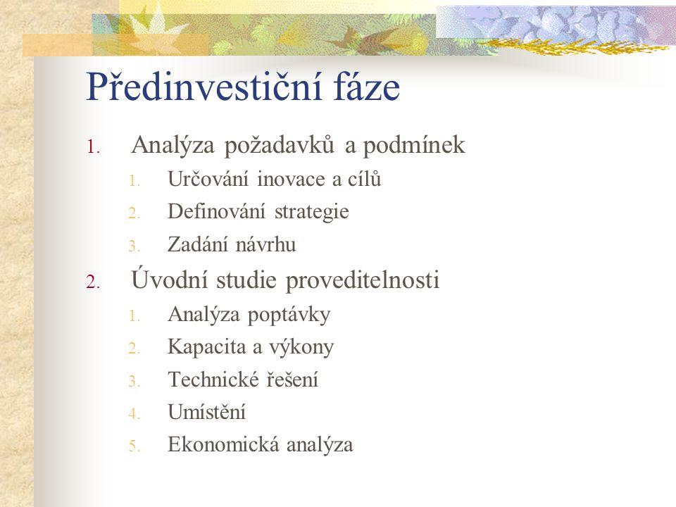 Předinvestiční fáze Analýza požadavků a podmínek