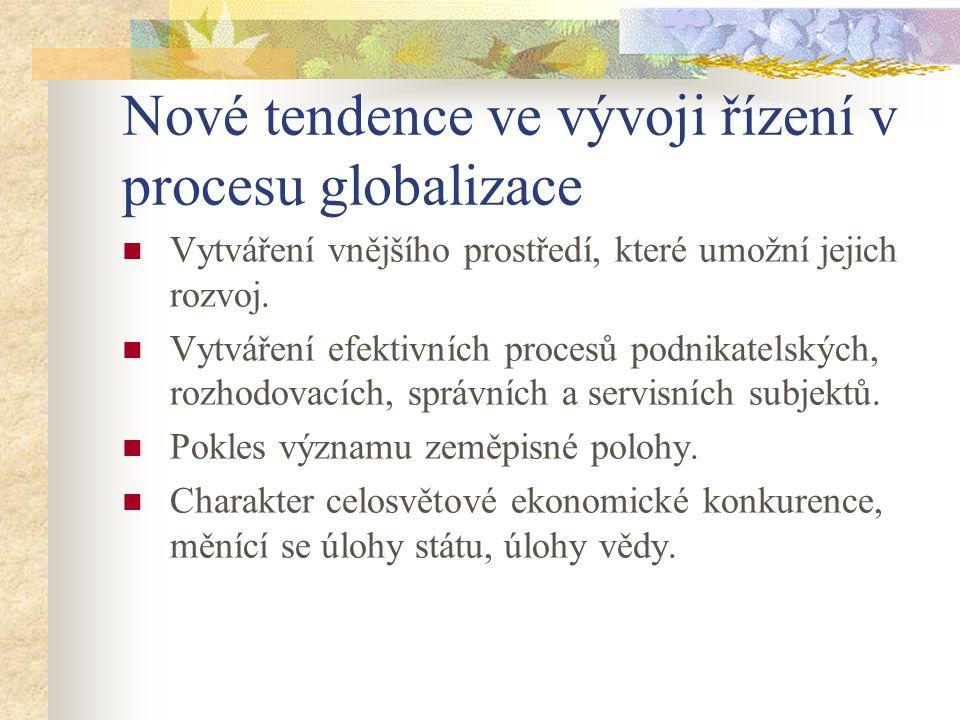 Nové tendence ve vývoji řízení v procesu globalizace
