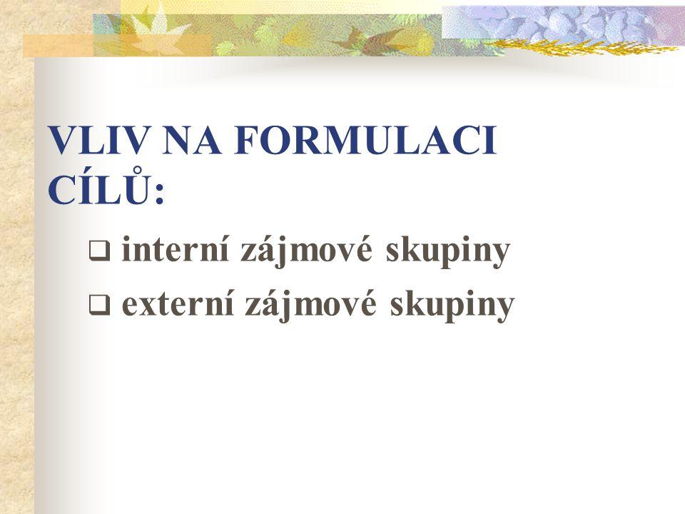 VLIV NA FORMULACI CÍLŮ: