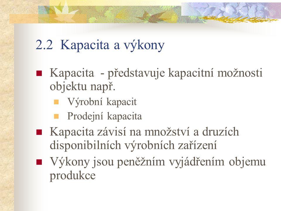 2.2 Kapacita a výkony Kapacita - představuje kapacitní možnosti objektu např. Výrobní kapacit. Prodejní kapacita.