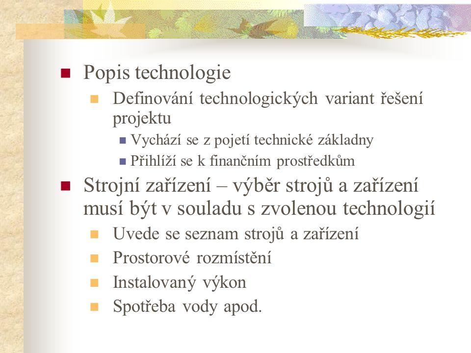Popis technologie Definování technologických variant řešení projektu. Vychází se z pojetí technické základny.