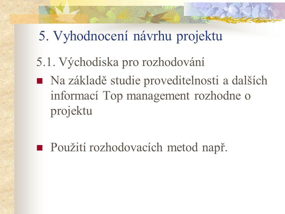 5. Vyhodnocení návrhu projektu