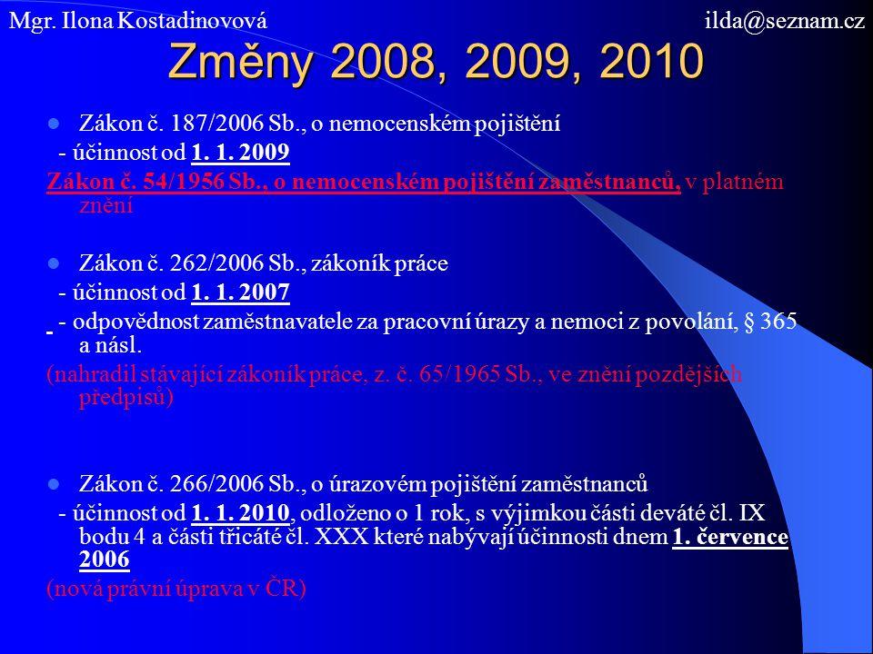 Změny 2008, 2009, 2010 Mgr. Ilona Kostadinovová ilda@seznam.cz