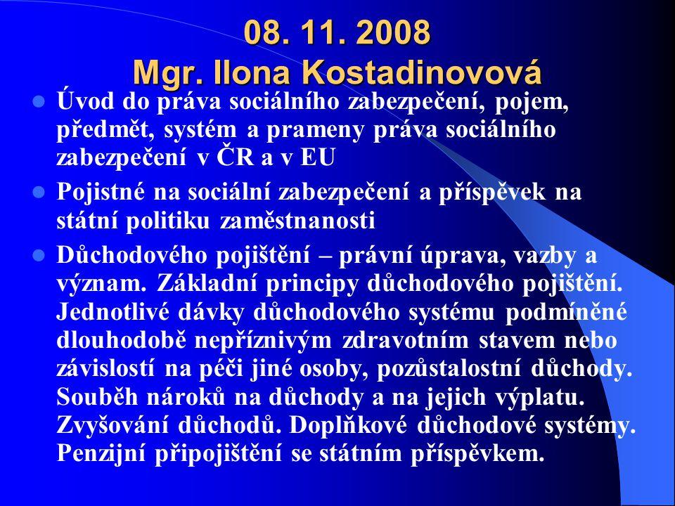 08. 11. 2008 Mgr. Ilona Kostadinovová