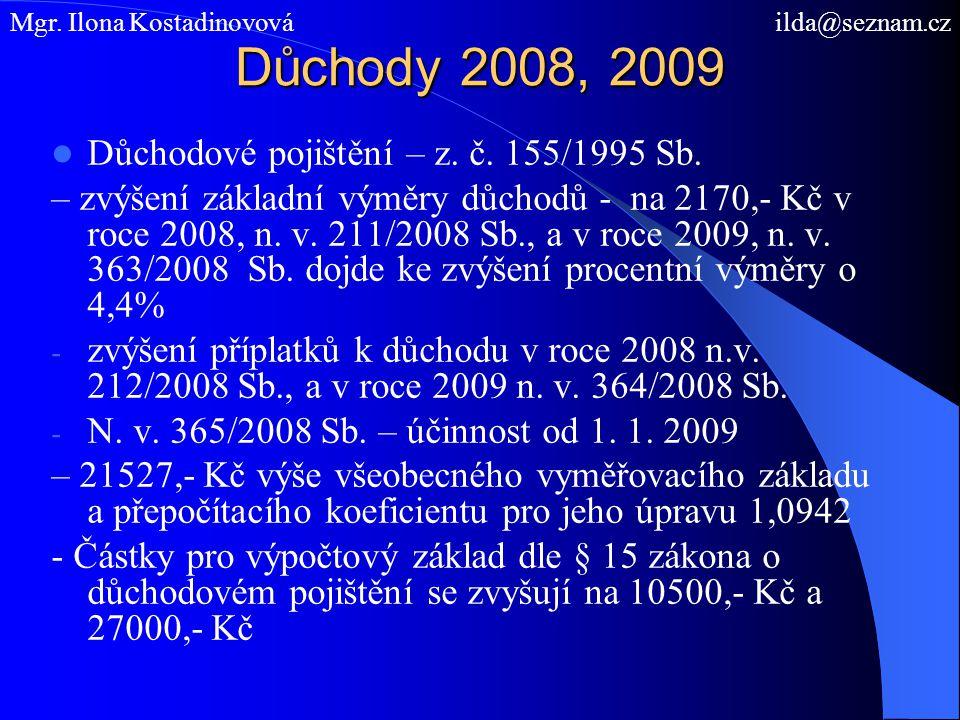 Důchody 2008, 2009 Důchodové pojištění – z. č. 155/1995 Sb.
