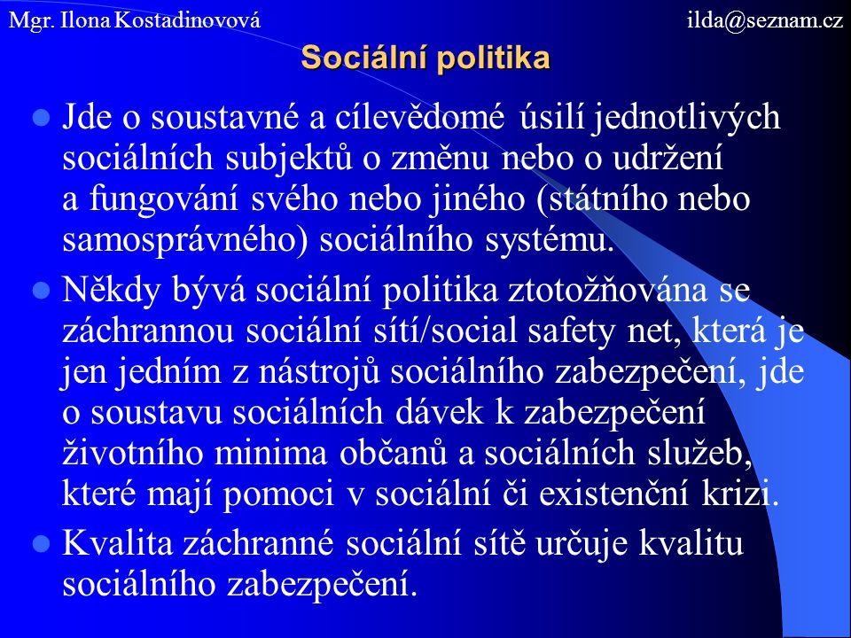 Kvalita záchranné sociální sítě určuje kvalitu sociálního zabezpečení.
