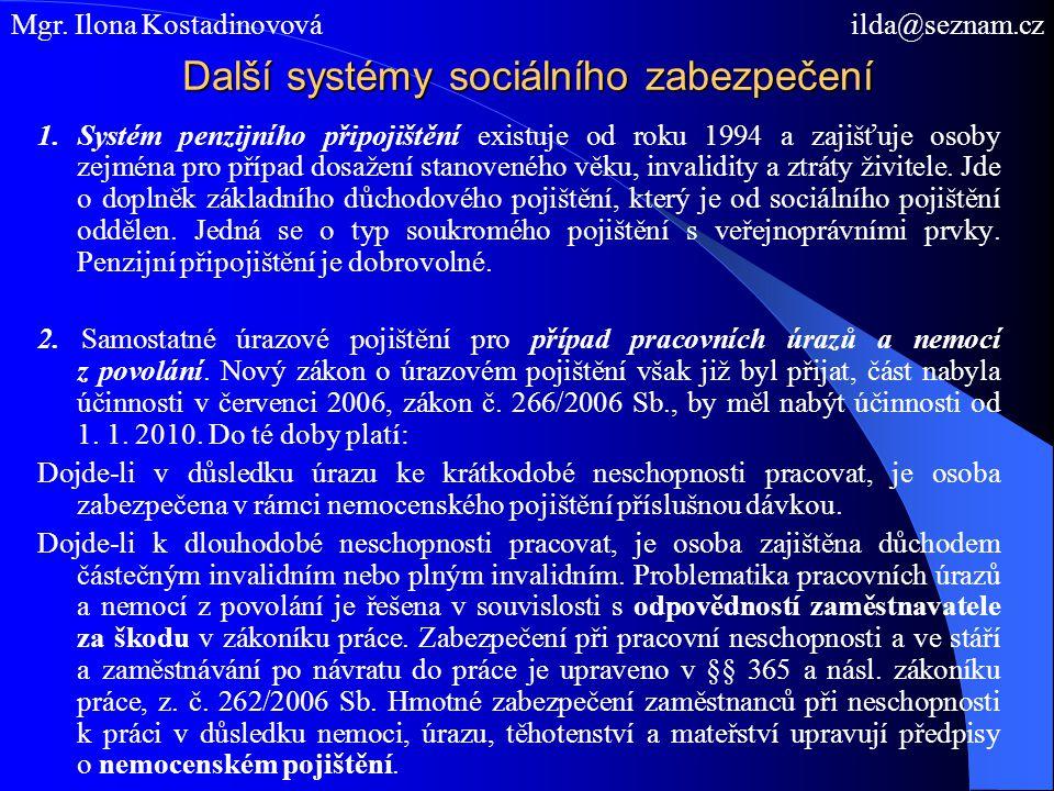 Další systémy sociálního zabezpečení