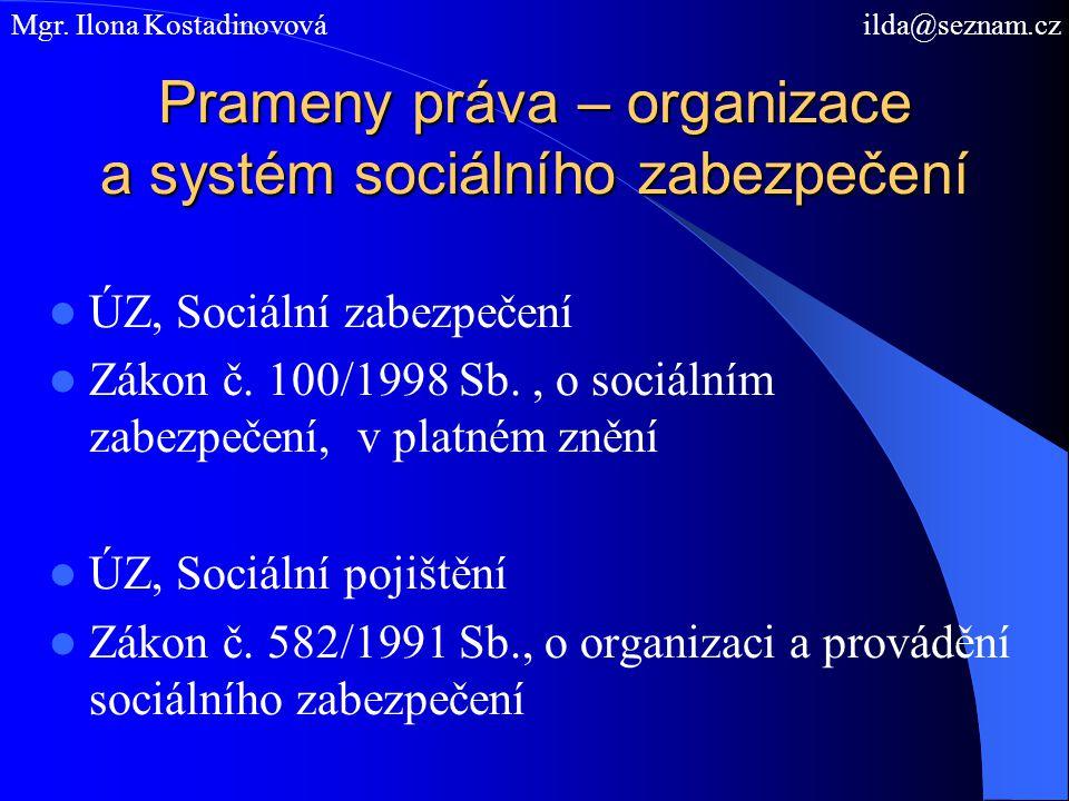 Prameny práva – organizace a systém sociálního zabezpečení