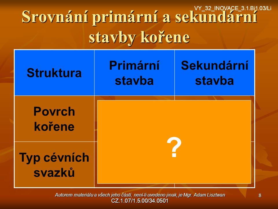Srovnání primární a sekundární stavby kořene
