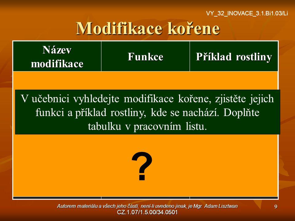 Modifikace kořene Název modifikace Funkce Příklad rostliny