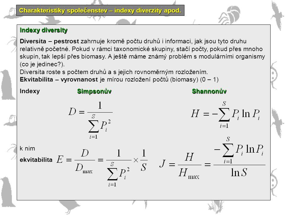 Charakteristiky společenstev – indexy diverzity apod.
