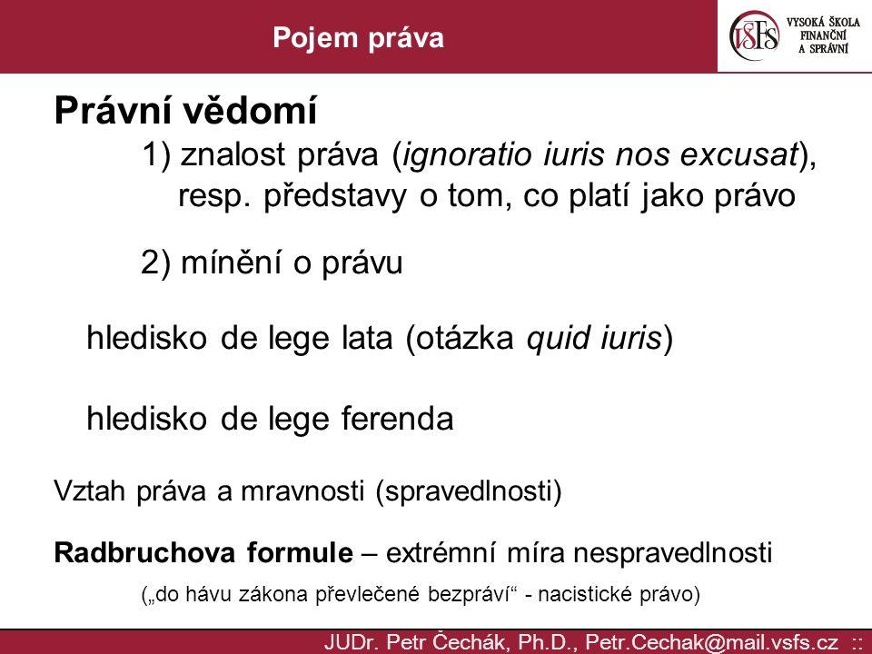 Právní vědomí 1) znalost práva (ignoratio iuris nos excusat),
