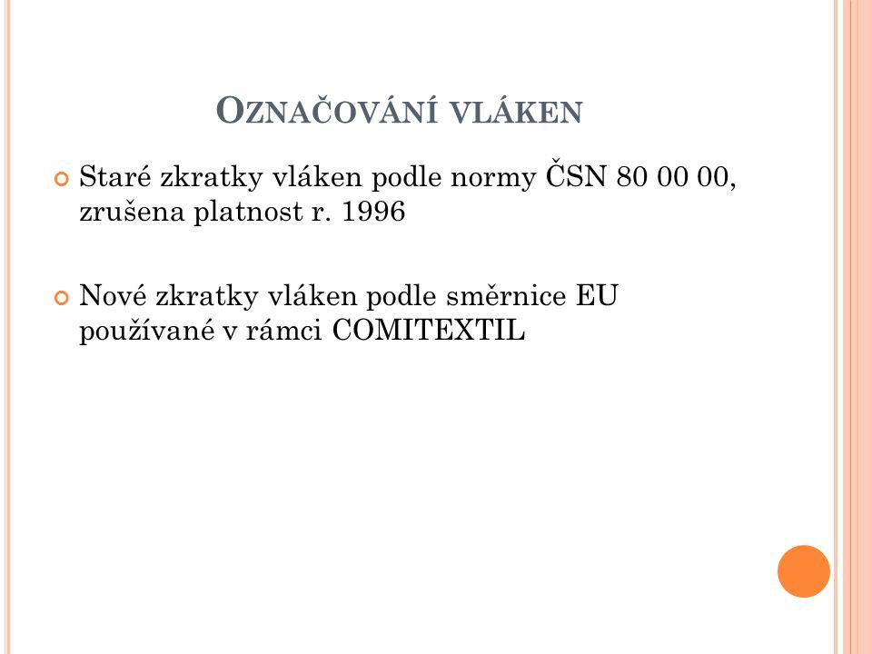 Označování vláken Staré zkratky vláken podle normy ČSN 80 00 00, zrušena platnost r. 1996.