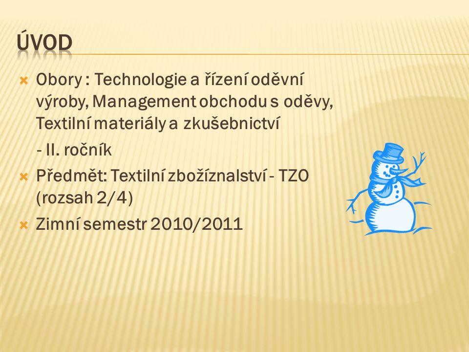 Úvod Obory : Technologie a řízení oděvní výroby, Management obchodu s oděvy, Textilní materiály a zkušebnictví.