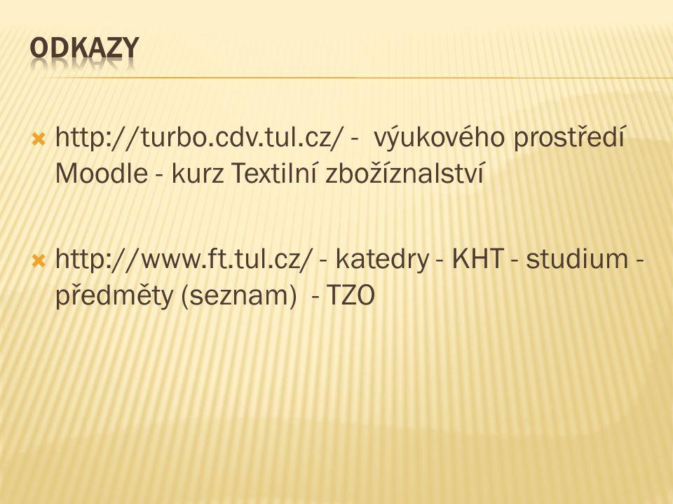Odkazy http://turbo.cdv.tul.cz/ - výukového prostředí Moodle - kurz Textilní zbožíznalství.