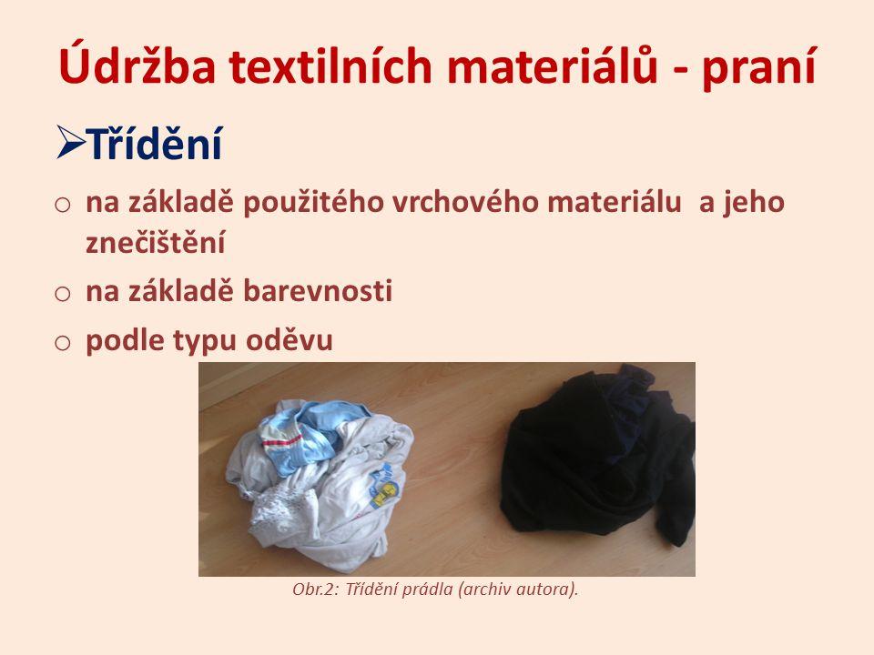 Údržba textilních materiálů - praní