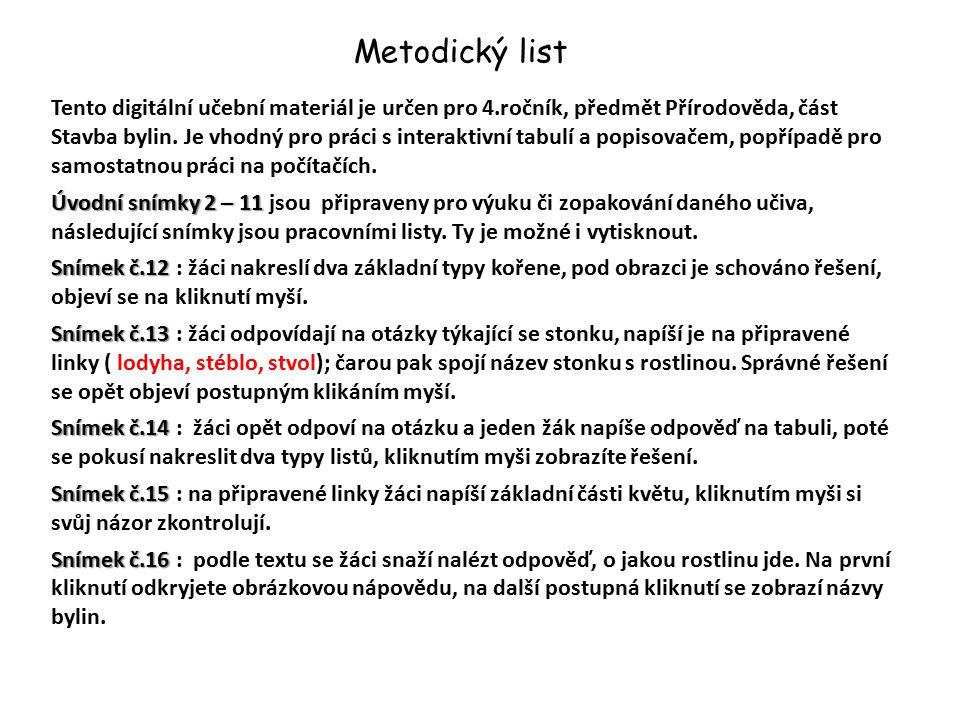 Metodický list