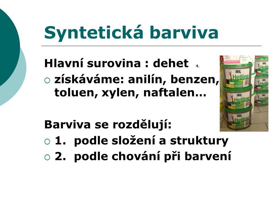 Syntetická barviva Hlavní surovina : dehet 4.