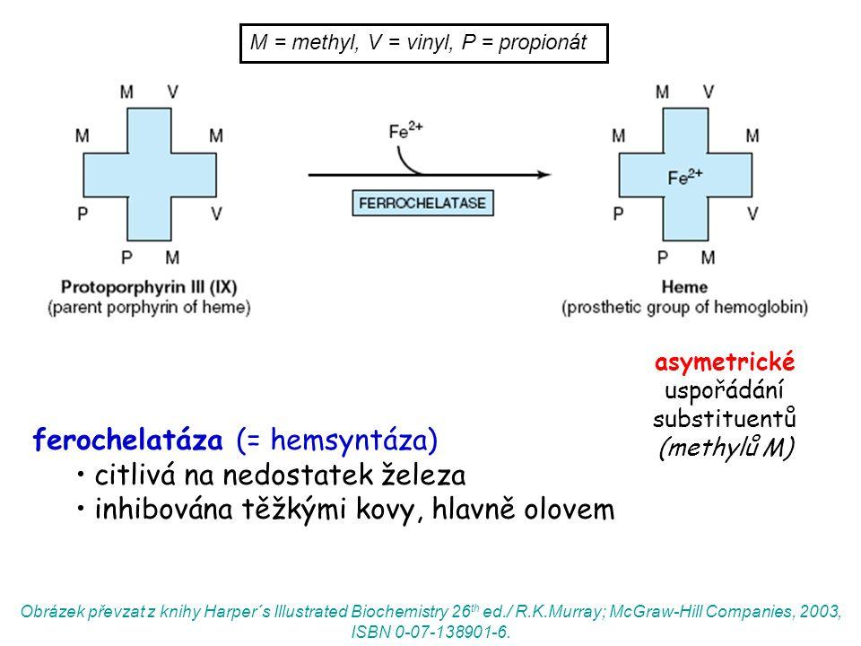 asymetrické uspořádání substituentů (methylů M)