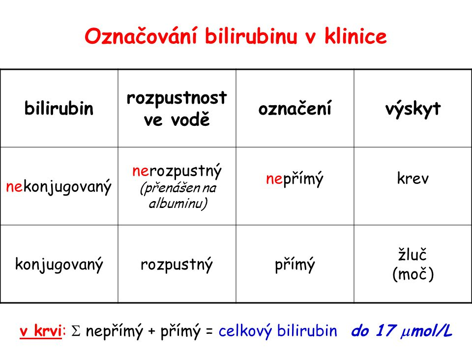 Označování bilirubinu v klinice