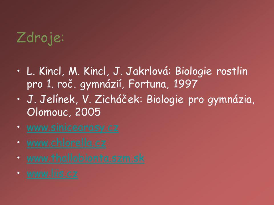 Zdroje: L. Kincl, M. Kincl, J. Jakrlová: Biologie rostlin pro 1. roč. gymnázií, Fortuna, 1997.