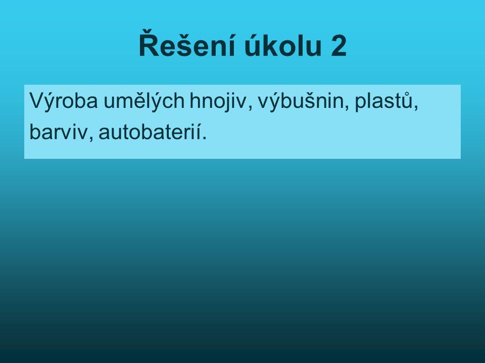 Řešení úkolu 2 Výroba umělých hnojiv, výbušnin, plastů,