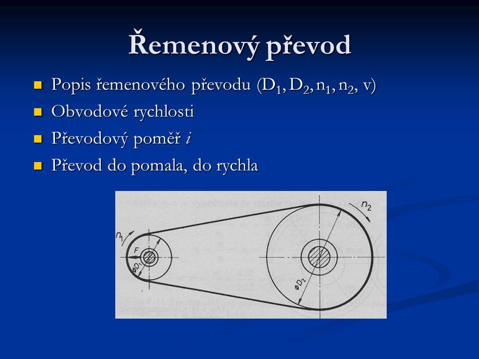 Řemenový převod Popis řemenového převodu (D1, D2, n1, n2, v)