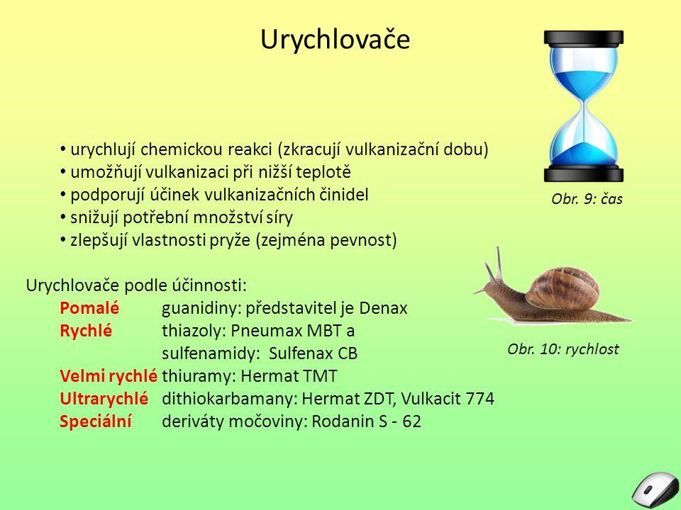 Urychlovače urychlují chemickou reakci (zkracují vulkanizační dobu)