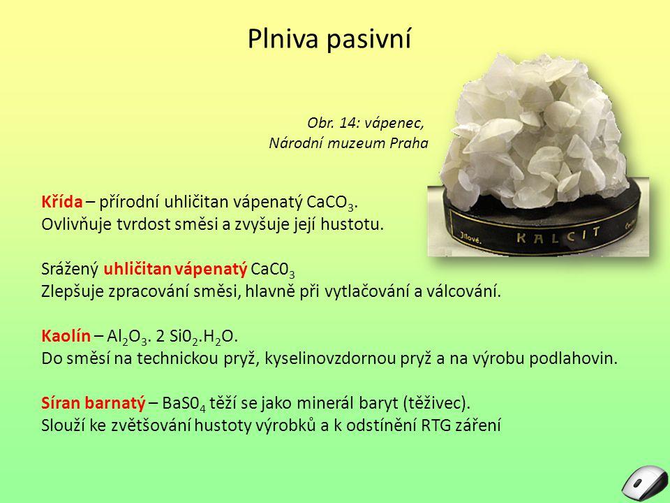 Plniva pasivní Křída – přírodní uhličitan vápenatý CaCO3.
