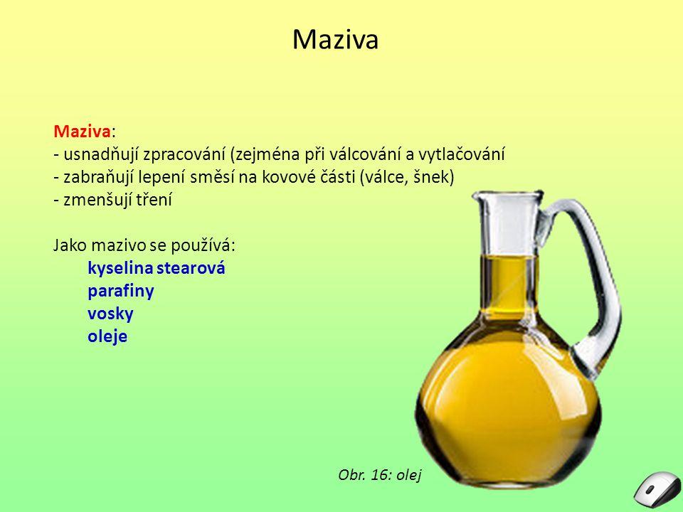 Maziva Maziva: - usnadňují zpracování (zejména při válcování a vytlačování. - zabraňují lepení směsí na kovové části (válce, šnek)