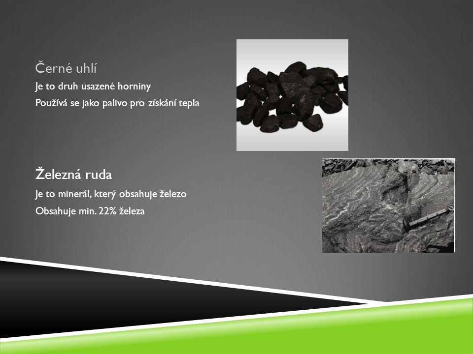 Černé uhlí Železná ruda Je to druh usazené horniny