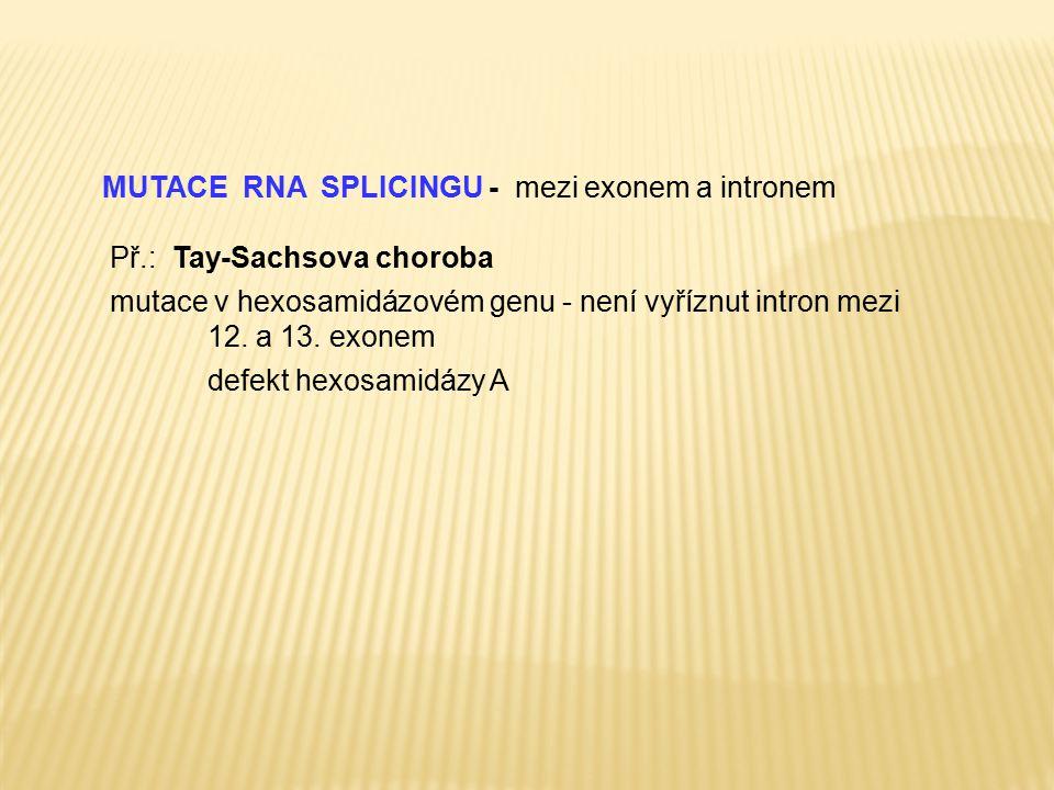 MUTACE RNA SPLICINGU - mezi exonem a intronem